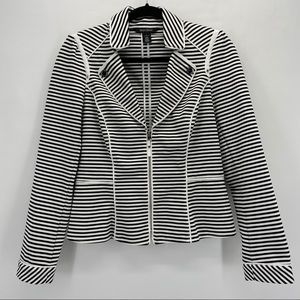 White House Black Market Striped Zip Front Blazer
